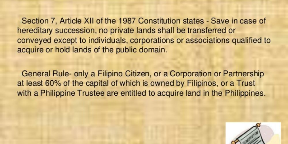 FOREIGN LAND OWNERSHIP RESTRICTION